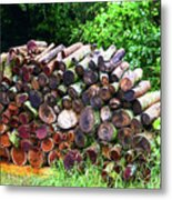 Stacked Firewood Metal Print