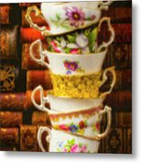 Stacked High Tea Cups Metal Print