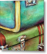 Stacked Vintage Luggage Metal Print