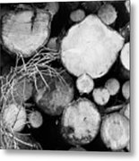 Stacked Wood Logs In Black And White Metal Print