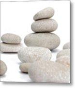 Stacks Of Smooth Pebble Stones Metal Print