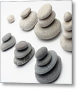Stacks Of White And Gray Pebbles Metal Print