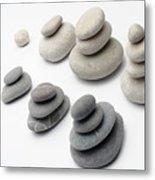 Stacks Of White And Gray Pebbles Metal Print by Sami Sarkis