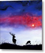 Stag And Deer In Moonlight Metal Print