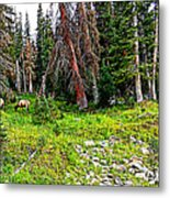Stag Forest Metal Print