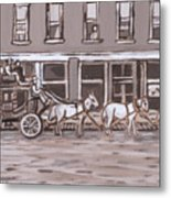 Stagecoach In Saratoga Historical Vignette Metal Print