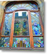 Stain Glass Of Brussels Metal Print