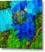 Stained Glass Blue Poppy One Metal Print