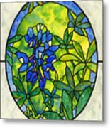 Stained Glass Bluebonnet Metal Print