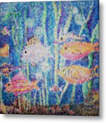 Stained Glass Fish Metal Print