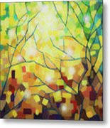 Stained Glass Forest Metal Print