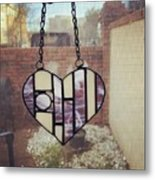Stained Glass Heart Metal Print