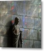 Stained Glass Illuminates Christ Metal Print