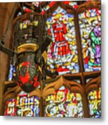 Stained Glass Lantern And Window Metal Print