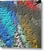 Stained Glass Light On Stucco Metal Print