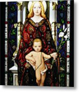 Stained Glass Of Virgin Mary Metal Print
