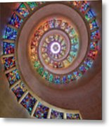 Stained Glass Spiral Metal Print