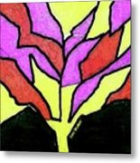 Tree - Stained Glass Watercolor Metal Print