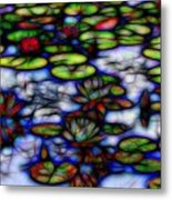 Stained Glass Water Lilies Metal Print