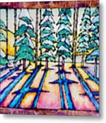 Stained Glass Watercolor Winter Pine Trees Metal Print