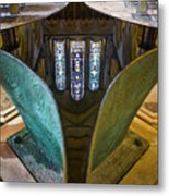 Stained Glass-window Reflection Metal Print