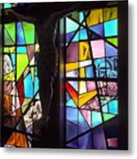 Stained Glass With Crucifix Silhouette Metal Print