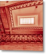 Staircase In Red Metal Print