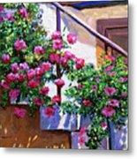Stairway Floral Plein Air Metal Print
