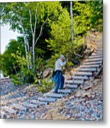Stairway From Lake Superior Beach To Au Sable Lighthouse In Pictured Rocks National Lakeshore-michig Metal Print