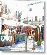 Stalls With Medieval Objects Metal Print
