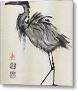 Standing Heron Metal Print