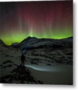 Standing In Awe Of The Auroras Metal Print