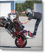 Standing On One Leg Riding Wheelie Metal Print