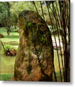 Standing Stone With Fern And Bamboo 19a Metal Print