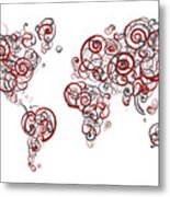 Stanford University Colors Swirl Map Of The World Atlas Metal Print