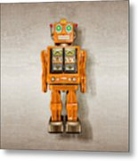 Star Strider Robot Orange Metal Print