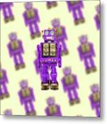 Star Strider Robot Purple Pattern Metal Print