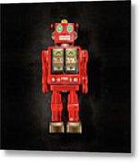 Star Strider Robot Red On Black Metal Print