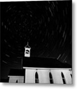 Star Tracks Over Saint Columba Anglican Country Church Metal Print