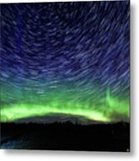 Star Trails And Aurora Metal Print