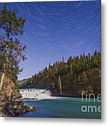 Star Trails And Moonbow Over Bow Falls Metal Print