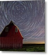 Star Trails At The Red Barn Metal Print