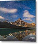 Star Trails Behind Mount Chephren Metal Print