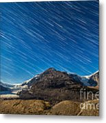 Star Trails Over Columbia Icefields Metal Print