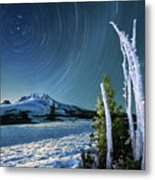 Star Trails Over Mt. Hood Metal Print