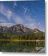 Star Trails Over Patricia Lake Metal Print