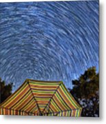 Star Trails Over The Umbrellas Metal Print
