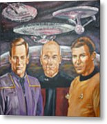 Star Trek Tribute Enterprise Captains Metal Print