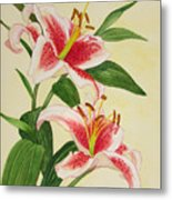 Stargazer Lilies - Watercolor Metal Print