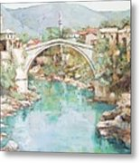 Stari Most Bridge Over The Neretva River In Mostar Bosnia Herzegovina Metal Print